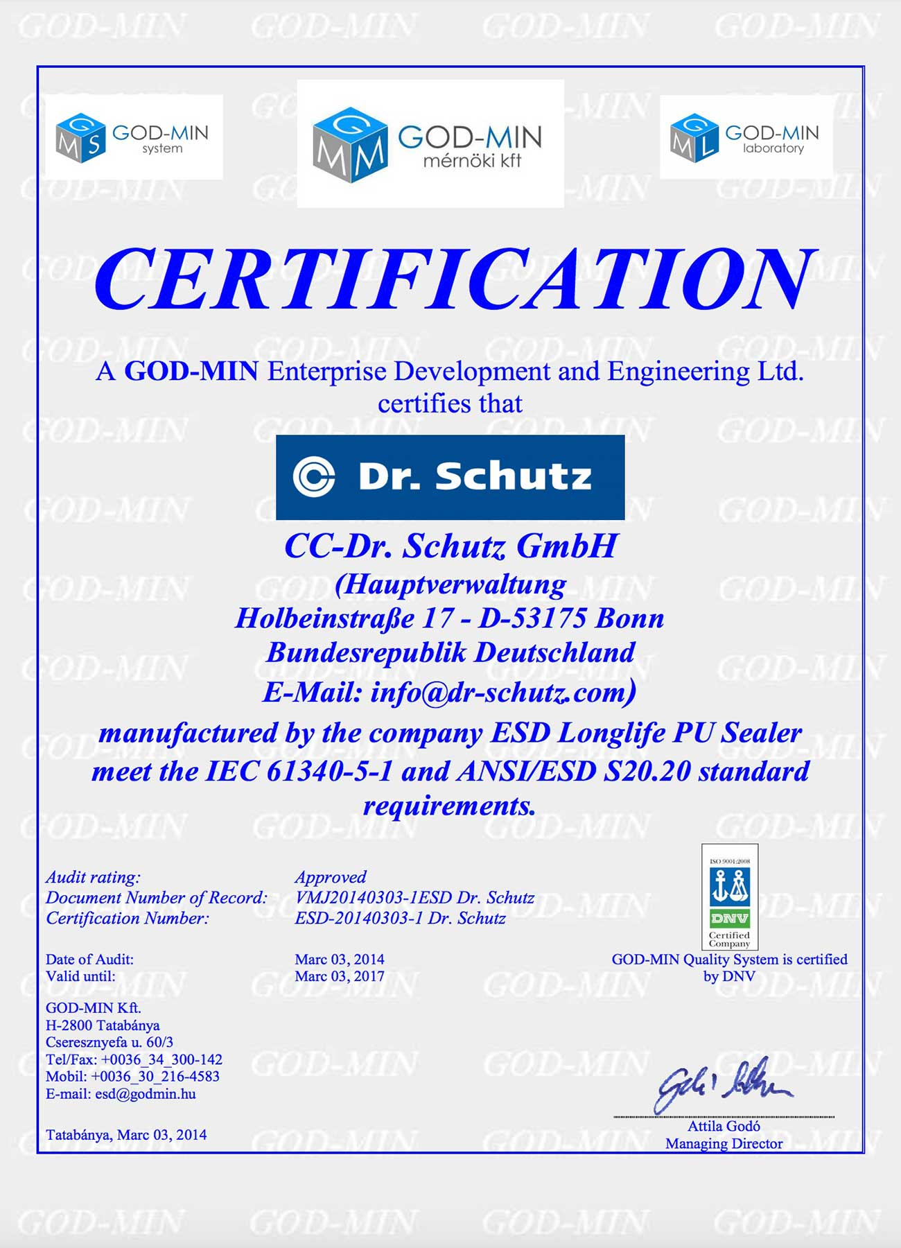 Dr. Schutz Certification for ESD Transparent PU System